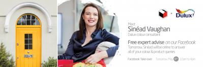 Free TJ O'Mahony Facebook Event Today 06/05/20  with Dulux Colour Consultant Sinead Vaughan.